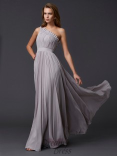 A-Line/Princess Pleats One-Shoulder Floor-Length Chiffon Dress