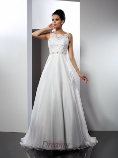 A-Line/Princess Scoop Chapel Train Satin Wedding Dress