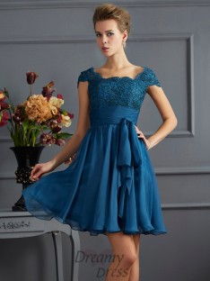 A-Line/Princess Scoop Chiffon Short Sleeves Short/Mini Dress With Lace