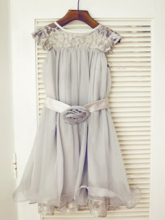 A-line/Princess Scoop Tea-length Chiffon Flower Girl Dresses with Lace