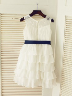 A-line/Princess Scoop Floor-length Chiffon Flower Girl Dresses with Ruched