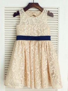 A-line/Princess Scoop Tea-length Lace Flower Girl Dresses with Bowknot