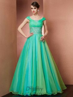 A-line/Princess Scoop Floor-length Organza Dress