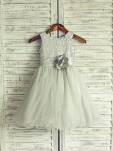 A-line/Princess Scoop Tea-length Organza Flower Girl Dresses with Hand-made Flower