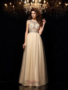 A-Line/Princess Scoop Net Floor-Length Dress