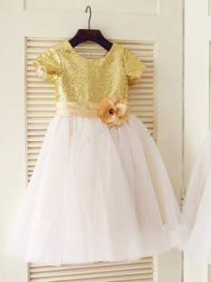 A-line/Princess Scoop Short Sleeves Tea-length Tulle Flower Girl Dresses with Sequins