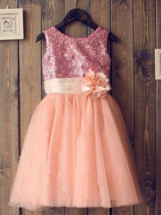 A-line/Princess Scoop Tulle Tea-length Flower Girl Dresses with Sequins