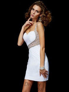 A-Line/Princess Short/Mini One-Shoulder Chiffon Sequin Dress
