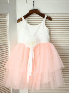 A-line/Princess Spaghetti Straps Tea-length Tulle Flower Girl Dresses with Hand-made Flower