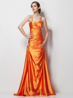 A-Line/Princess Spaghetti Straps Satin Sweep/Brush Train Elastic Woven Dress