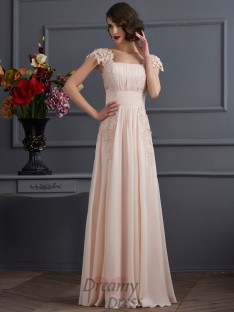 A-Line/Princess Square Short Sleeves Floor-Length Chiffon Dress With Lace