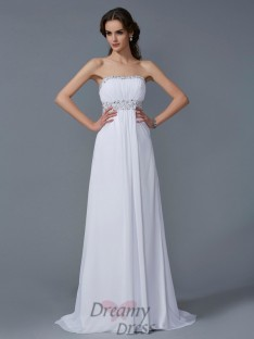 A-Line/Princess Strapless Chiffon Sweep/Brush Train Dress