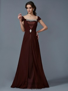 A-Line/Princess Strapless Short Sleeves Floor-Length Chiffon Dress