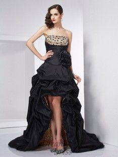 A-Line/Princess Strapless Taffeta Asymmetrical Dress