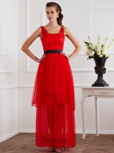 A-Line/Princess Straps Ankle-Length Pleats Elastic Woven Satin Dress