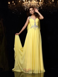 A-Line/Princess Straps Chiffon Court Train Dress
