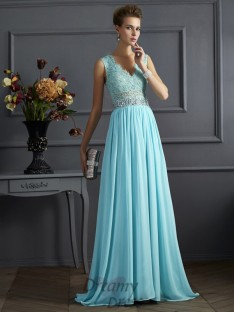 A-Line/Princess Straps Lace Floor-Length Chiffon Dress