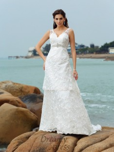 A-Line/Princess Straps Satin Chapel Train Wedding Dress