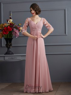 A-Line/Princess Sweetheart 1/2 Sleeves Floor-Length Chiffon Dress