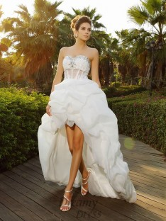 A-Line/Princess Sweetheart Asymmetrical Organza Wedding Dress