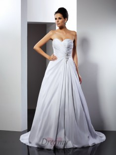 A-Line/Princess Sweetheart Cathedral Train Satin Wedding Dress