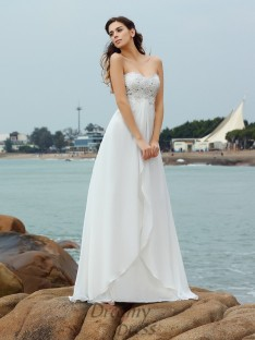 A-Line/Princess Sweetheart Chiffon Floor-Length Wedding Dress
