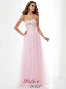 A-Line/Princess Sweetheart Elastic Woven Satin Floor-Length Dress