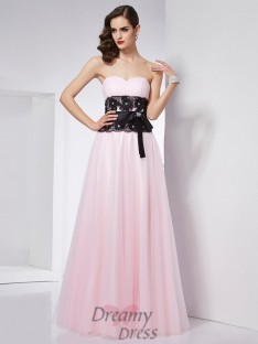 A-Line/Princess Sweetheart Floor-Length Lace Satin Dress