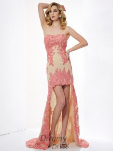 A-Line/Princess Sweetheart Lace Asymmetrical Dress