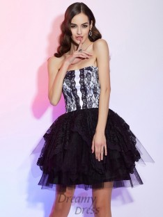 A-Line/Princess Sweetheart Lace Short/Mini Cocktail Dress