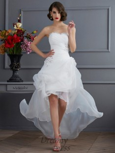 A-Line/Princess Sweetheart Organza Asymmetrical Wedding Dress