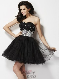 A-Line/Princess Sweetheart Sequin Short/Mini Elastic Woven Satin Dress