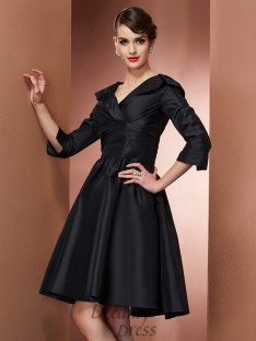 A-Line/Princess V-neck 3/4 Sleeves Short/Mini Taffeta Dress