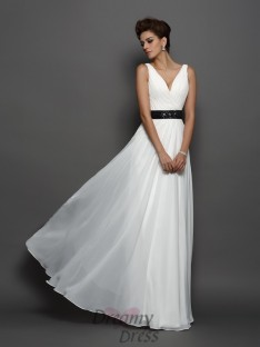 A-Line/Princess V-neck Chiffon Floor-Length Wedding Dress