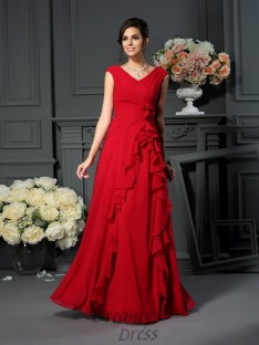 A-Line/Princess V-neck Chiffon Long Dress