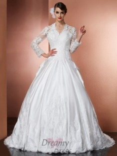 A-Line/Princess V-Neck Long Sleeves Cathedral Train Satin Wedding Dress