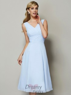 A-Line/Princess V-neck Pleats Tea-Length Chiffon Bridesmaid Dress