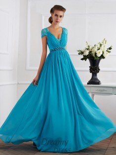 A-Line/Princess V-neck Short Sleeves Chiffon Floor-Length Dress