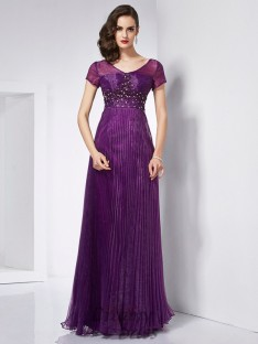 A-Line/Princess V-neck Short Sleeves Organza Floor-Length Dress