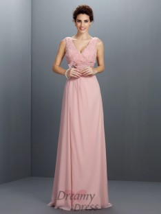 A-Line/Princess V-neck Sweep/Brush Train Chiffon Dress