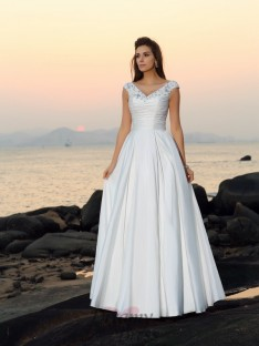 A-Line/Princess V-neck Taffeta Floor-Length Wedding Dress