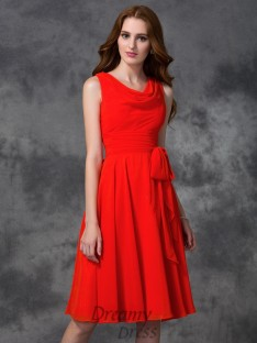 A-line Ruffles Scoop Knee-length Chiffon Bridesmaid Dress