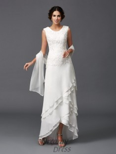 40fca359e1d A-line Scoop Lace Asymmetrical Chiffon Mother of the Bride Dress