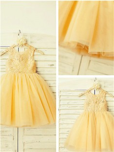 A-line Scoop Lace Tea-length Tulle Flower Girl Dress