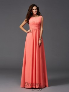 A-line Scoop Ruffles Sweep/Brush Train Chiffon Bridesmaid Dress