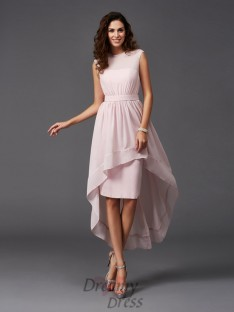 A-line Scoop Sash/Ribbon/Belt Asymmetrical Chiffon Bridesmaid Dress