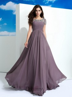 A-line Short Sleeves Chiffon Long Dress