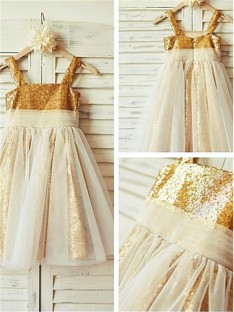 A-line Spaghetti Straps Floor-Length Sequins Flower Girl Dress