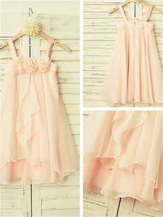 A-line Spaghetti Straps Tea-Length Chiffon Flower Girl Dress