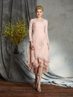 A-line Strapless Knee-Length Chiffon Mother of the Bride Dress